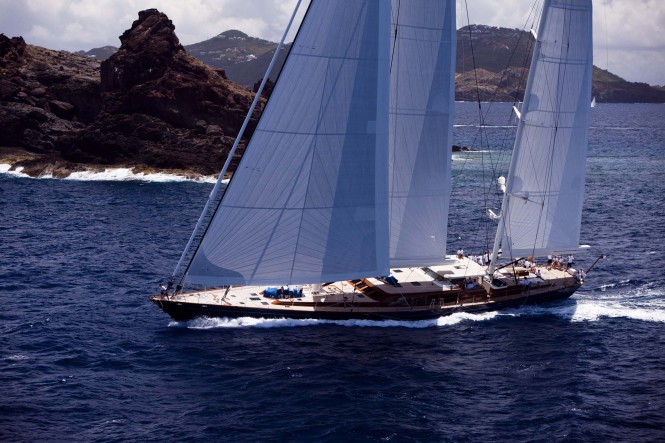 Sailing yacht Christopher during the 2011  St. Barths Bucket Regatta Race 3.