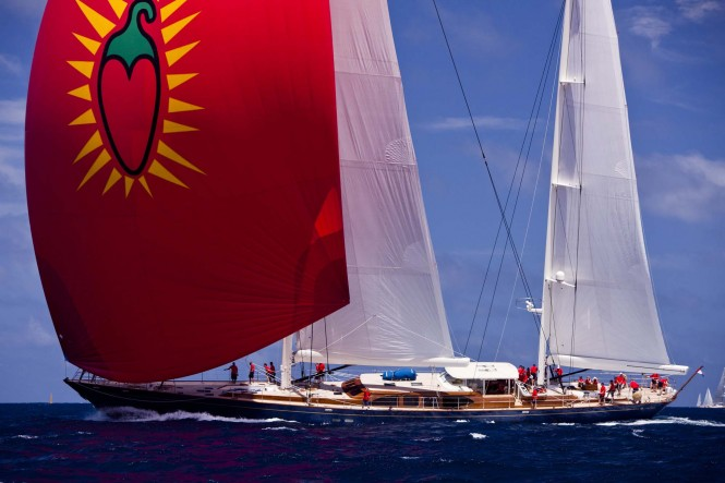 Pendennis Yacht Christopher sailing in the 2011 St. Barths Bucket Regatta Race 2