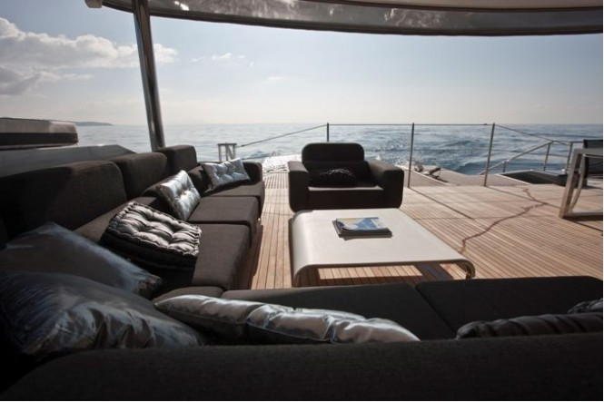 Sailing Yacht Cartouche Aft Deck - A Blue Coast 95 Catamaran - Photo Credit Gilles Martin-Raget