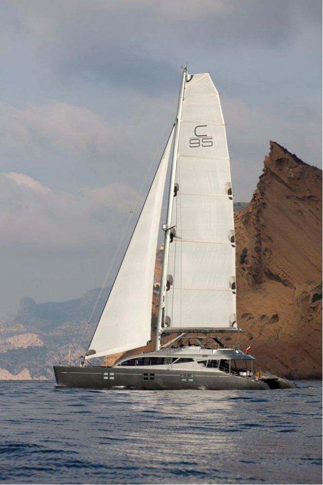 Yacht Cartouche - A Blue Coast 95 Catamaran - Photo Credit Gilles Martin-Raget  