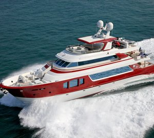 The Europa 100 motor yacht RED PEARL by MCP bunkers in Tobago, Caribbean.