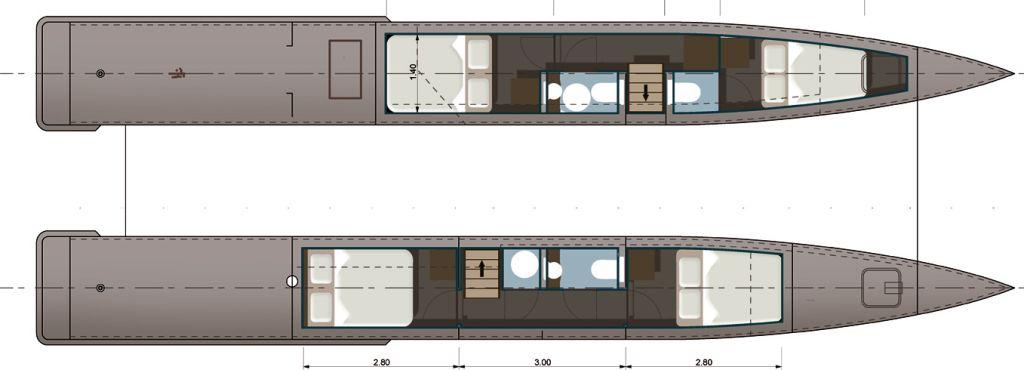 Antiqu Boat plan: Catamaran trawler design