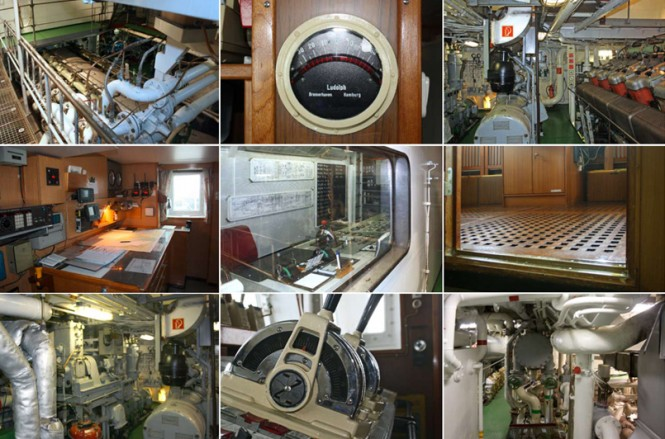 Tug Explorer yacht OCEANIC interior - before conversion by Icon Yachts