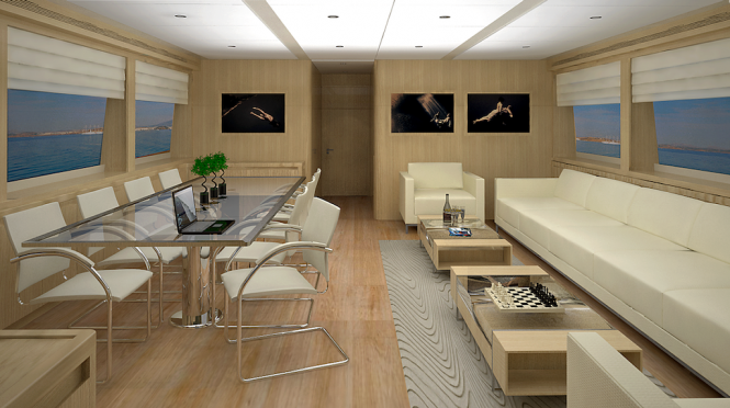 28 m Aegean Yacht - Dining and Living Area