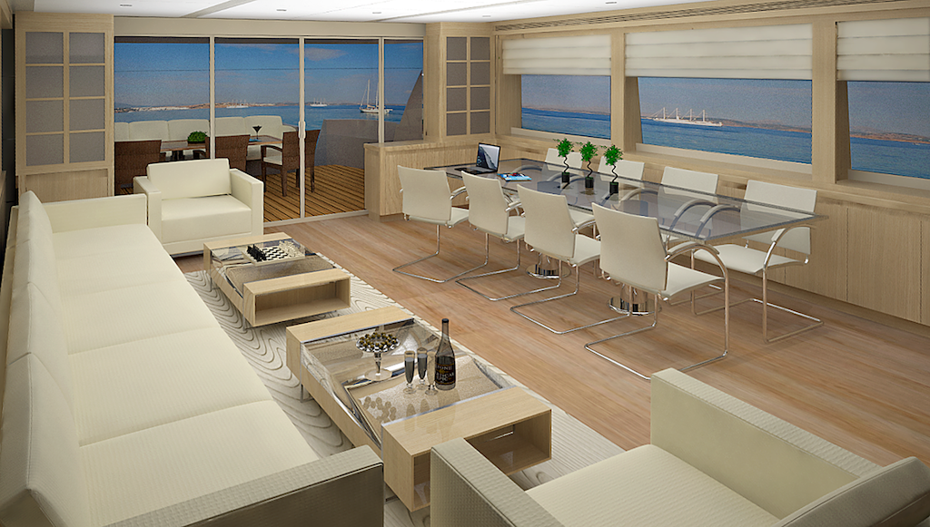 28 m motor yacht by aegean yacht dining table yacht for Table design yacht