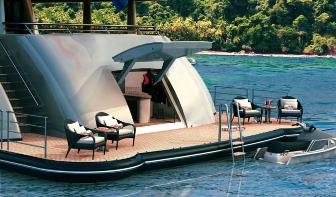 Amels 212 superyacht aft swimming platform