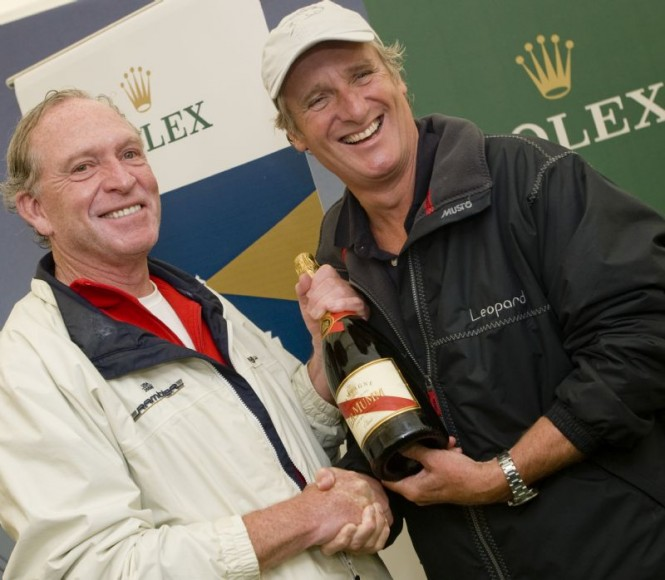 George David, owner of RAMBLER & Mike Slade, owner of ICAP LEOPARD, second and first boats across the finish line Rolex Fastnet Race 2007 ©PhotoROLEX Carlo Borlenghi