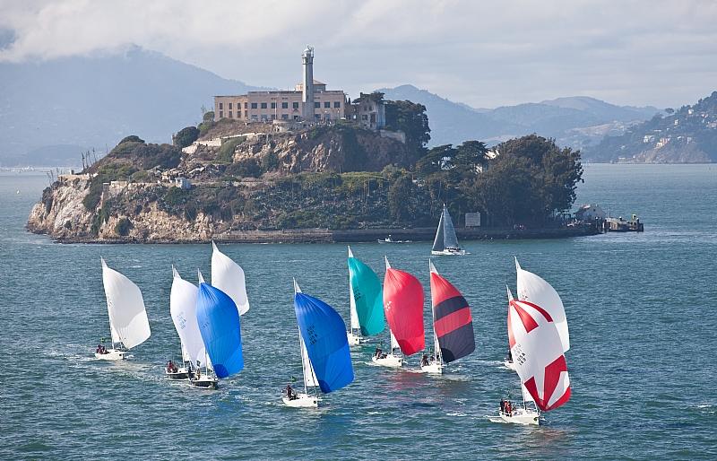 J 105 sailing yachts pass Alcatraz -Rolex Big Boat Series San Francisco, CA, ...