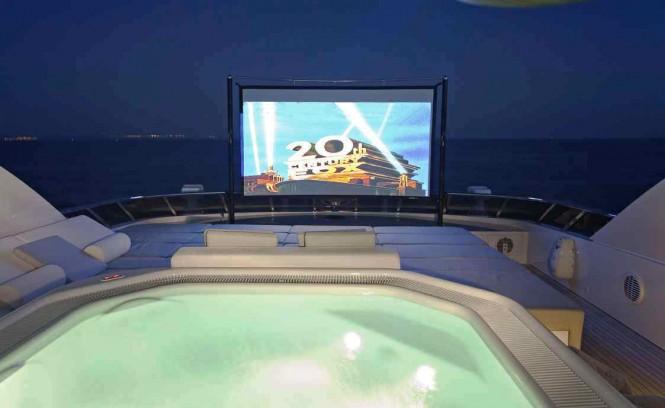 MY Jems sun deck outdoor cinema screen