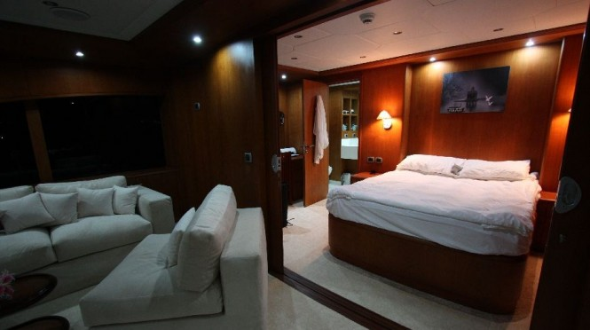 Motor Yacht Seven Spices Sky Suite - Image credit Luxury Motor Yachts Inc