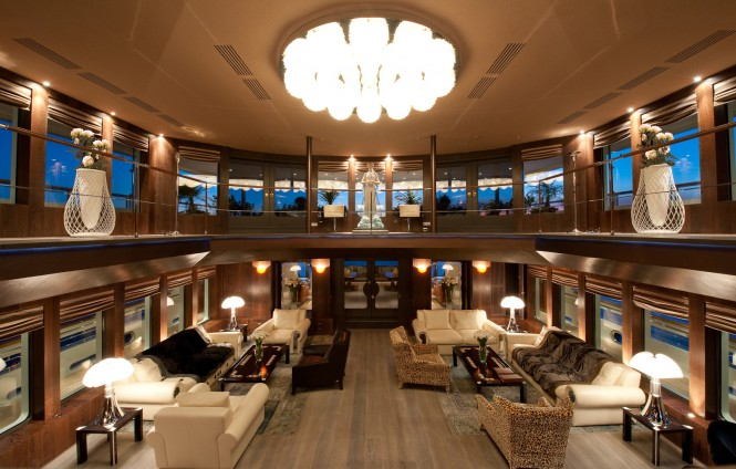 Motor Yacht Reborn Atrium and Saloon Area
