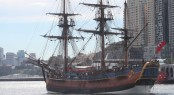 Sailing yacht Endeavour, replica of Captain James Cook's ship, HMB Endeavour sails for Perth 2011