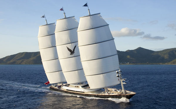 The 289-foot Charter Yacht Maltese Falcon, one of the largest privately-owned sailing yachts in the world, will be a headliner at the Transatlantic Race 2011 which starts in late June. Photo by Roddy Grimes Graeme