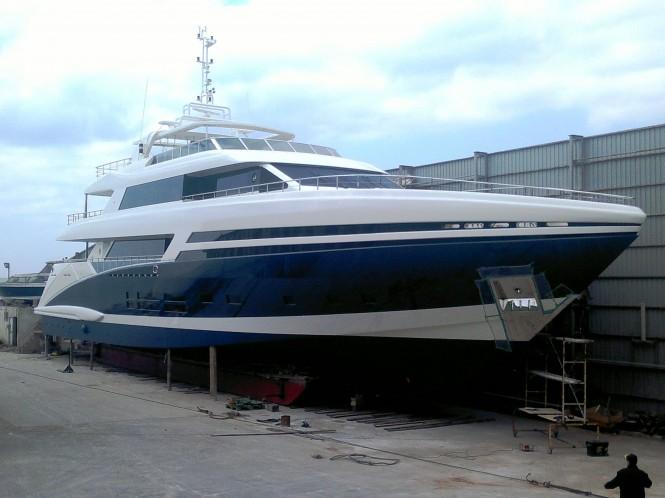 The Bilgin 145 Tatiana yacht before launch