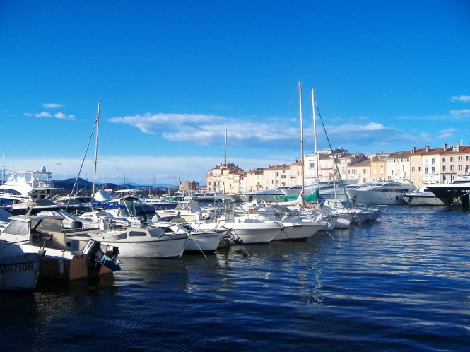 The Port of St Tropez - a notouriously busy luxury yacht Mediterranean French marina during summer