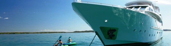Superyacht and Kayak in Queensland