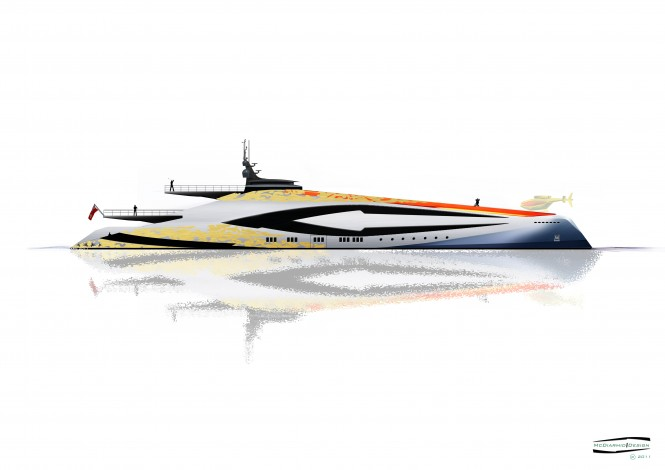 McDiarmid Design - 100m side profile Superyacht Duel - reverse bow A1