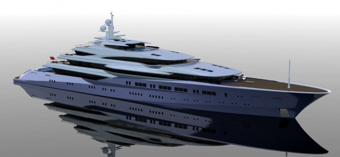 Adriel Design Motor Yacht Project Lumen 90m three -quarter above forward