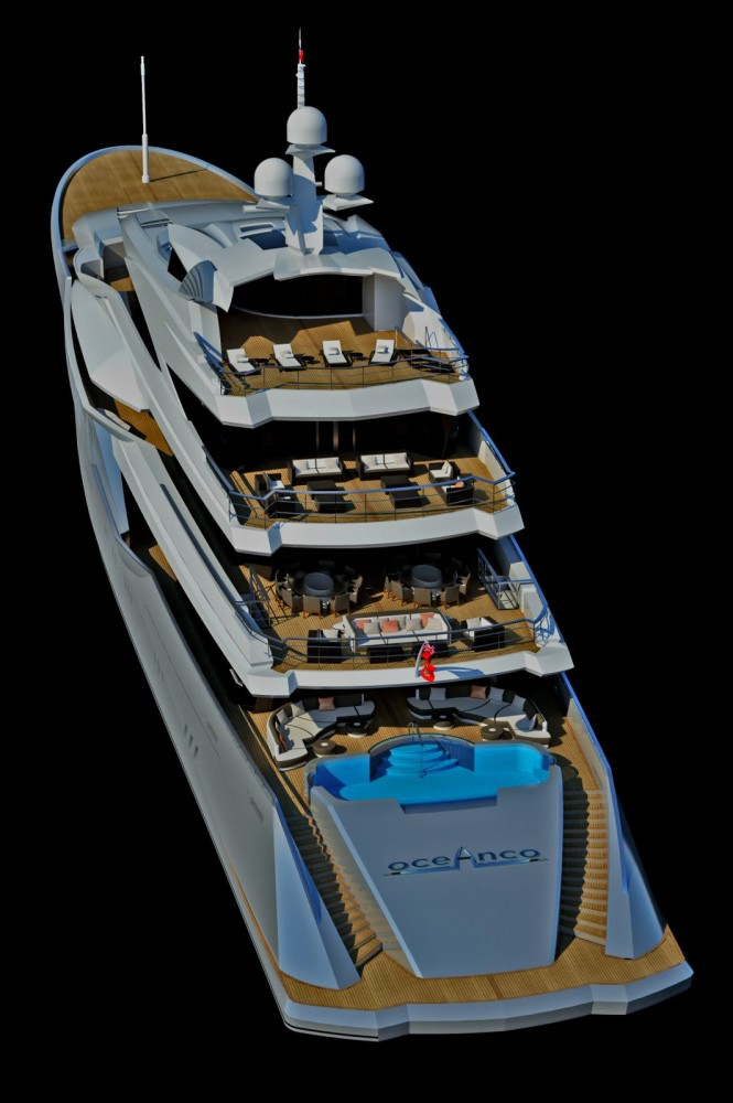 Adriel Design for oceAnco Project Lumen a 90m motor yacht -stern angle above
