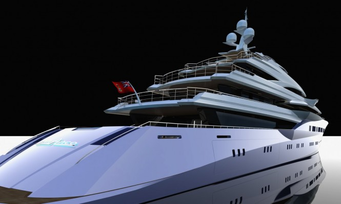 Adriel Design for oceAnco Superyacht Lumen - a 90m project - three-quarter waterline aft view