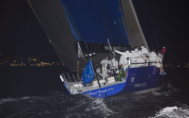 Sailing yacht ESIMIT EUROPA 2 at the finish line in Genoa, line honours winner Photo credit Rolex  Carlo Borlenghi
