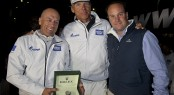 Igor Simcic, owner of ESIMIT EUROPA 2, Jochen Schuemann (skipper) and Lionel Schurch, Rolex SA