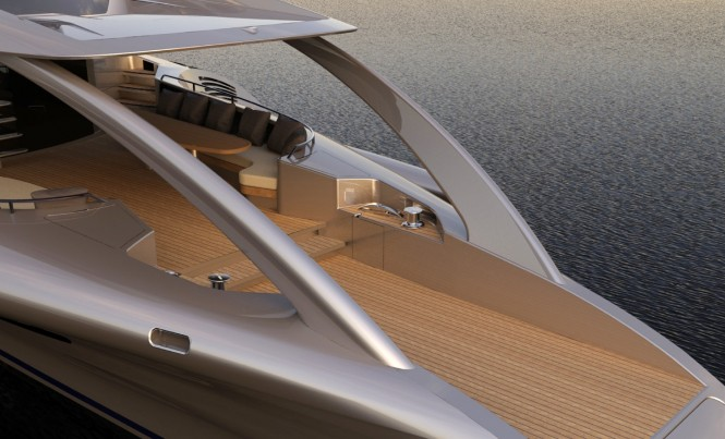 Motor yacht Adastra aft in silver a Power Trimaran - as Designed by John Shuttleworth Yacht Design