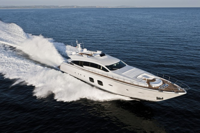 The Pershing 108 motor yacht in full flight