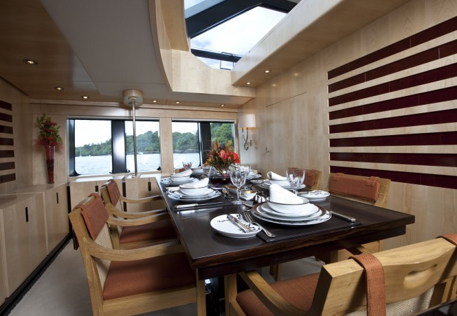 Sailing yacht AKALAM Dining Room - Credit: Lloyd Images