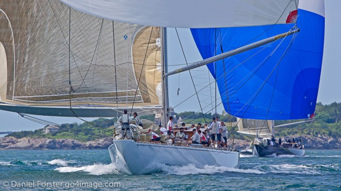 Sailing yacht Ranger leading on Day 1, winning by 1 minute 19 seconds elapsed time, but by just 1 second on corrected time.