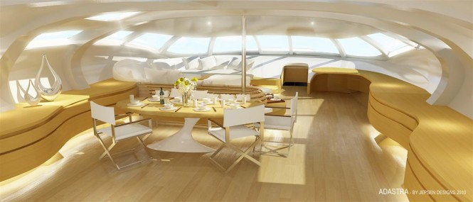 Superyacht Adastra a 42.5m Power Trimaran - Interior Saloon and dining © Jepsen Designs Hong Kong
