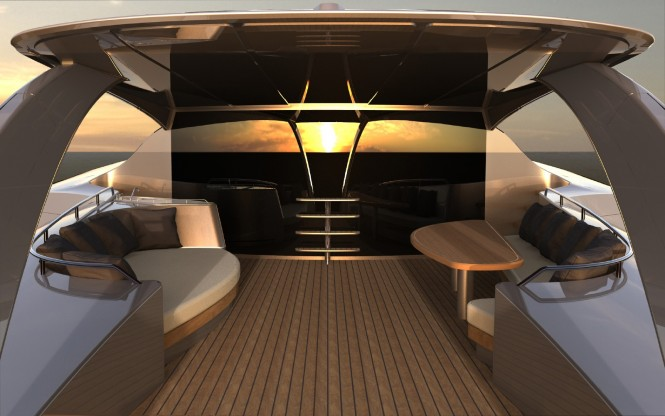 Superyacht Adastra aft a Power Trimaran - as Designed by John Shuttleworth Yacht Design