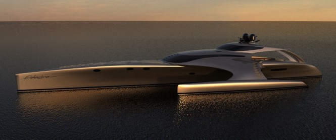 Adastra profile a 42.5m Power Trimaran - Designed by John Shuttleworth Yacht Design