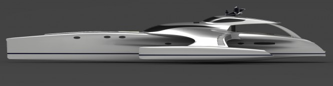 Superyacht Adastra profile in silver a 42.5m Power Trimaran - Designed by John Shuttleworth Yacht Design