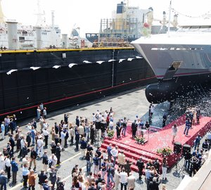 Technical launch of Motor Yacht Prima (Columbus177') at Palumbo Shipyard.