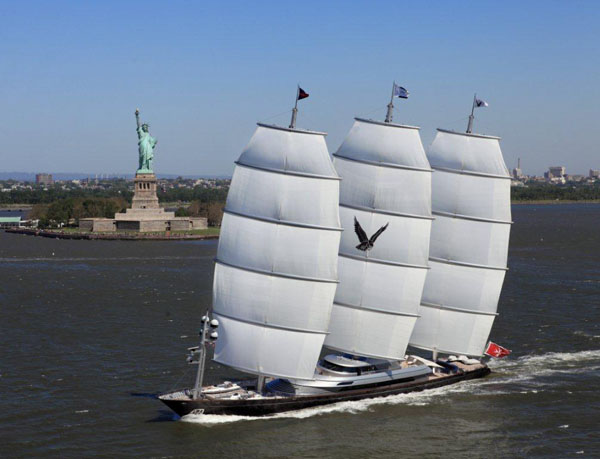 The 289-foot Maltese Falcon (shown here sailing in New York) will be the largest yacht in the 2,975 nm Transatlantic Race 2011.