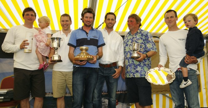 The Gold Roman Bowl went to the delighted crew of Sundowner, entered by Jo Hutchinson (left) and Nick Rogers (far right), flanked by Roger Thompson, J.P. Morgan Asset Management and Ben Ainslie at today's Prizegivi