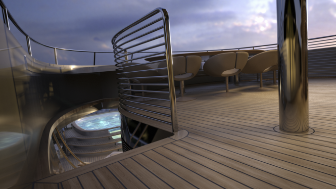 View of the swimming pool on board of the Yacht MONDO45 Explorer