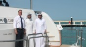 At the Lusail Marina - Left, Michael Horrigan, middle, Eng. Essa Mohammed Ali Kaldari, right Salman Jassim Al Darwish - Image Mourjan Marinas IGY