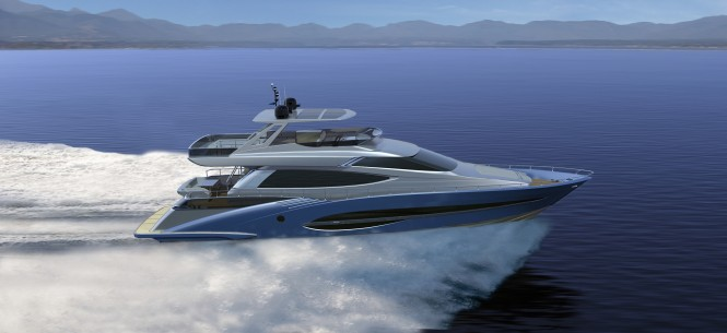 72' motor yacht by Joachim Kinder Design underway