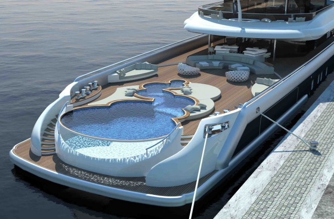 Explore 70 Superyacht – a Multifunction World Explorer concept by Newcruise with huge pool at aft