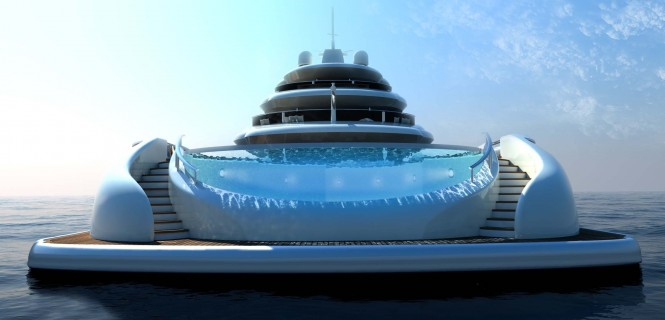Explore 70 yachts huge pool at aft – a Multifunction World Explorer concept by Newcruise