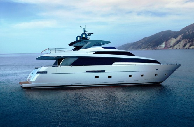 Exterior of the new Sanlorenzo SL94 motor yacht series set for debut