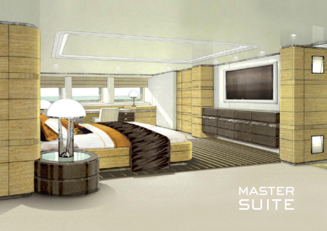 Heesen 4400 series superyacht Zentric - Master Suite designed by Omega Architects
