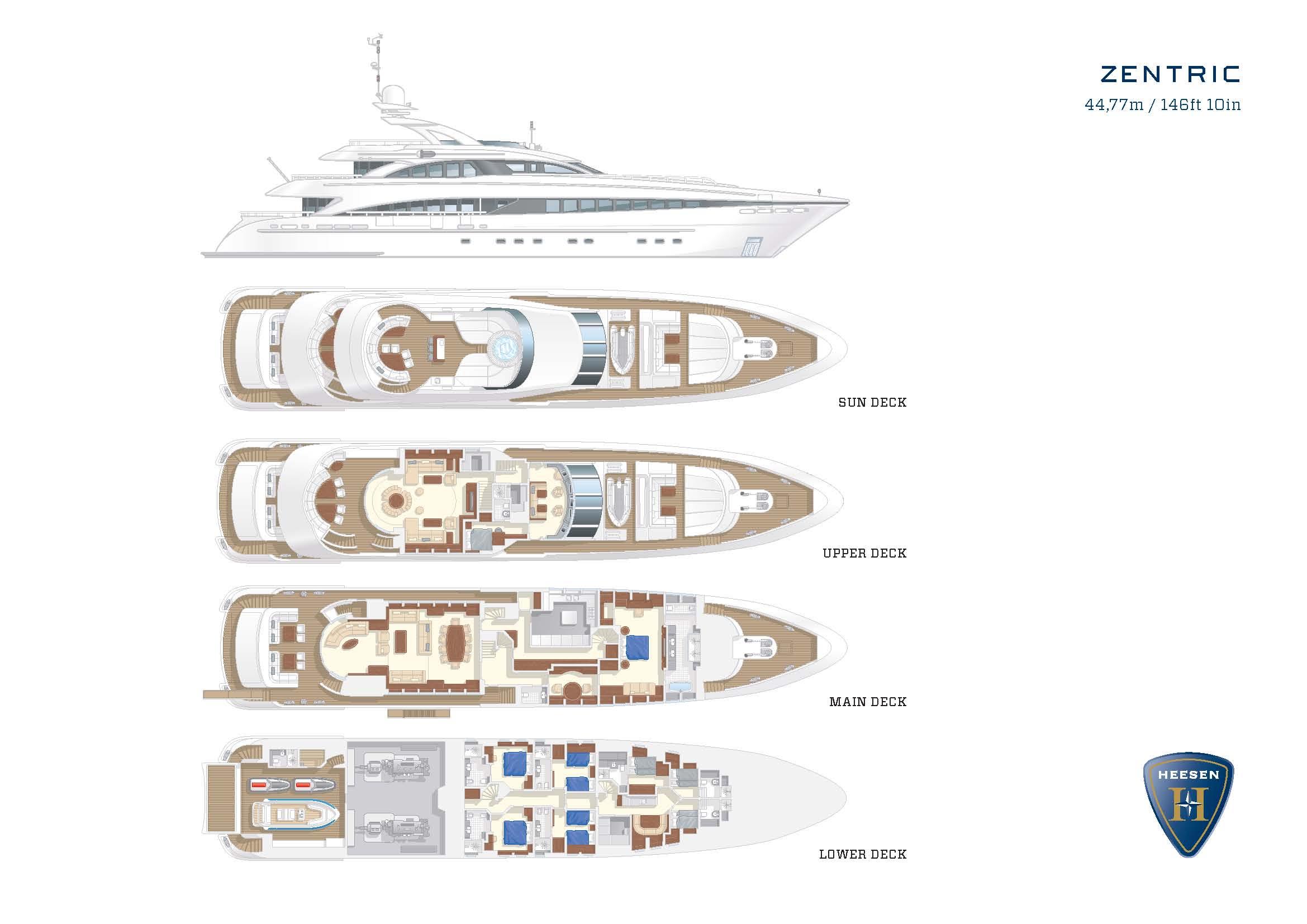Heesen Motor Yacht ZENTRIC Plans Charter