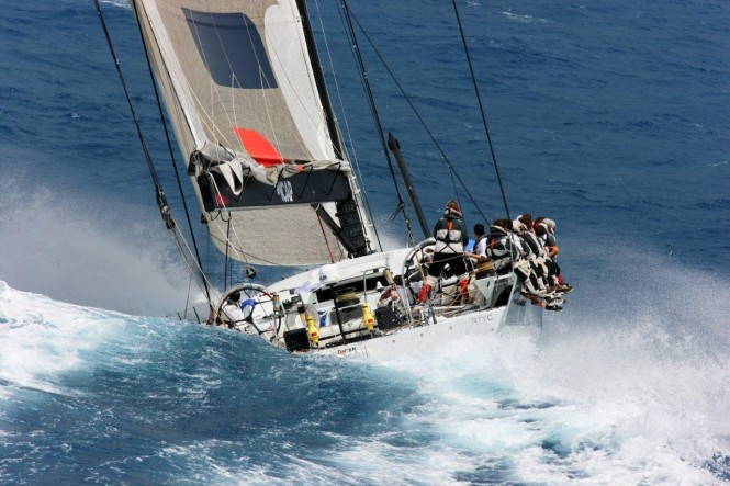 ICAP Leopard (shown at start) sailed the majority of the Transatlantic Race 2011 with a broken bow sprit.  It has now finished. (photo credit TR2011Billy Black)