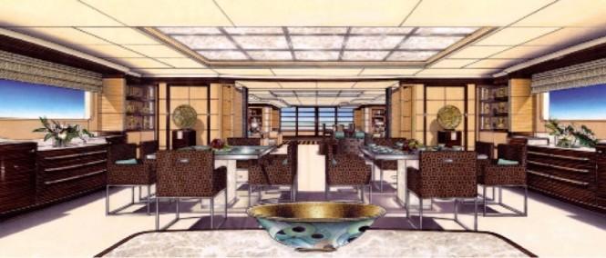 Interior of Benetti superyacht Lyana ex Project Sofia (FB248) designed by Francois Zuretti