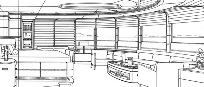 Interior of Benetti yacht Lyana ex Project Sofia (FB248) designed by Francois Zuretti