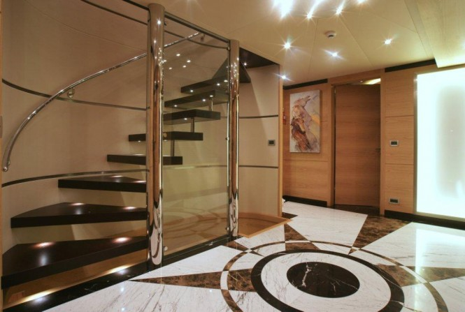 Interior of the 45 m Yacht Tatiana designed by J Kinder and realised by Septemar Yacht Furniture
