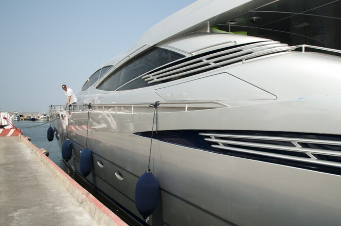 Launch day of the Mistral 55 yacht from the port side